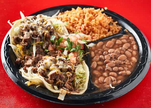 chicken, tri-tip, cc's meat or pork tacos