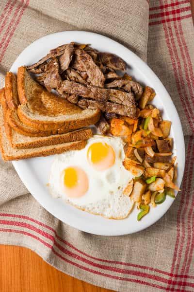 carne asada with eggs