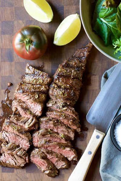 Cut steak and fresh veggies