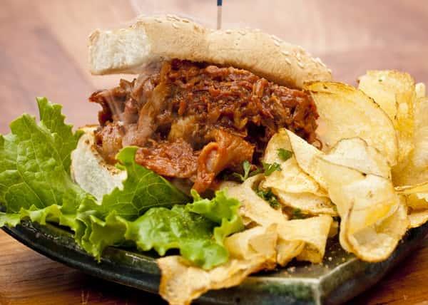 Slow-Turned BBQ Pork Sandwich