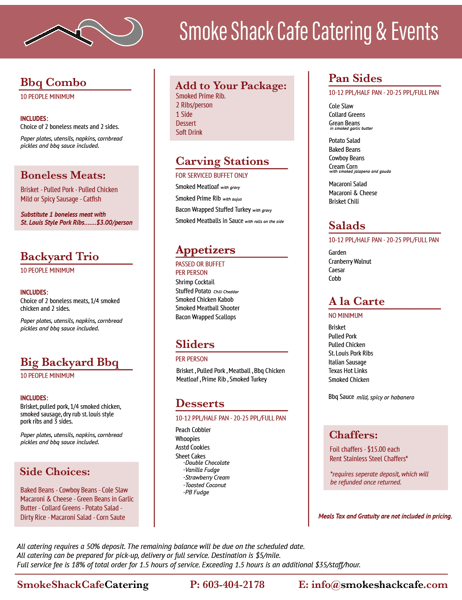 catering menu no prices