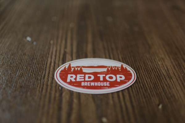 Red Top Oval Sticker