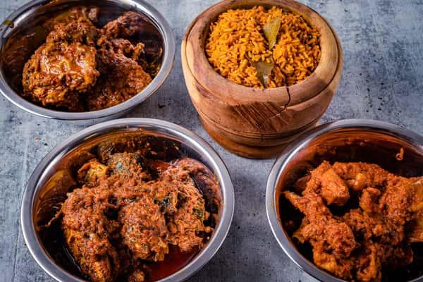 Goat meat stew, Hen stew & Mackerel stews with jollof rice