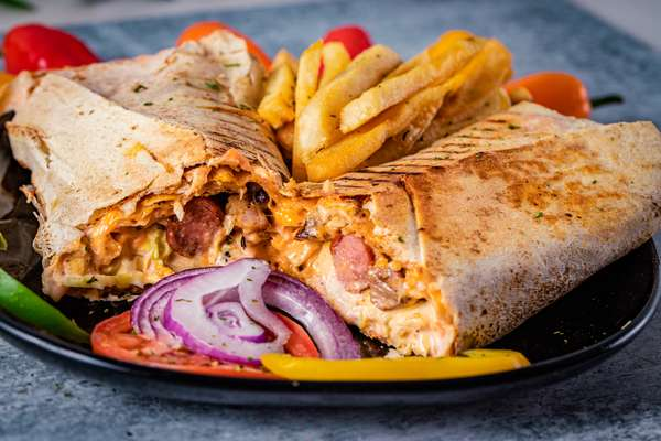 Shawarma with a side of fries