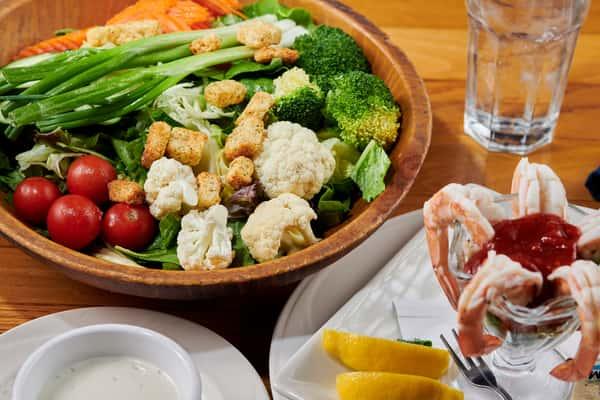Salad and shrimp cocktail