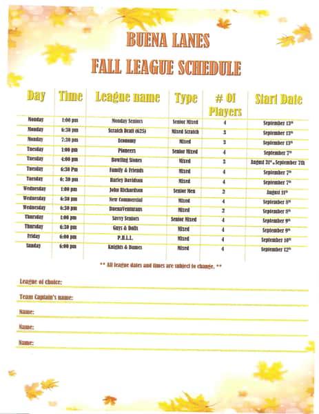 2021 Fall League Schedule