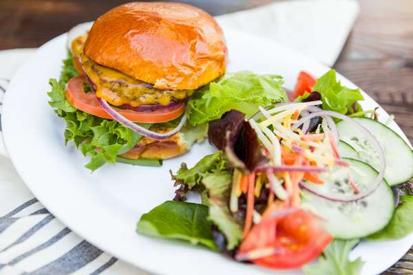 burger with salad