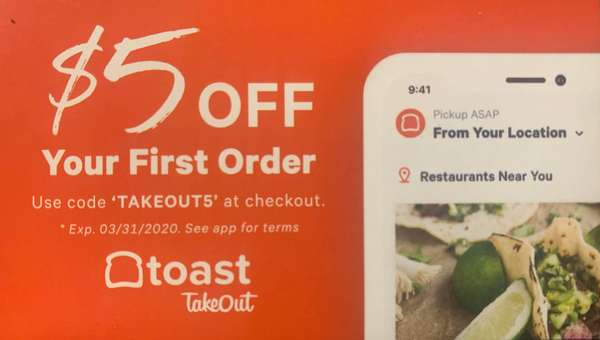 Order with the Toast Takeout app and get $5.00 off your first order!!
