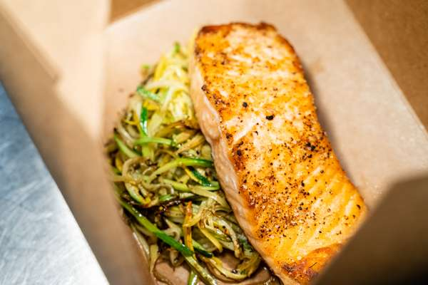 Seared Salmon with Vegetable Slaw and Bacon Tomato Sauce