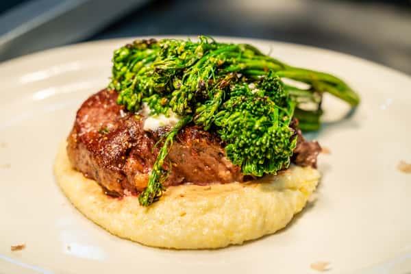 Tender Beef Fillet served over Polenta and Broccolini