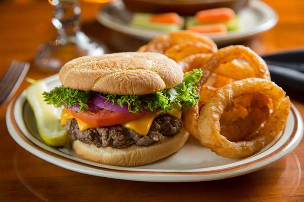 cheese burger and onion rings