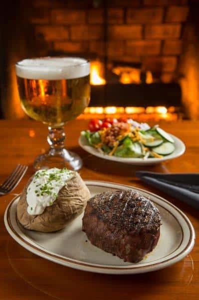 steak, salad, potato and beer
