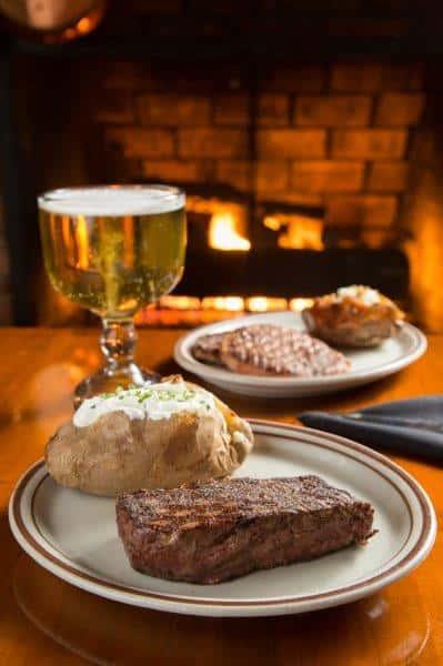 steak, potato and beer