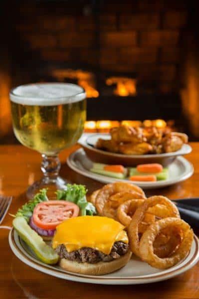 cheeseburger, onion rings, wings and beer