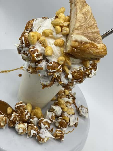 milkshake with a slice of cheesecake