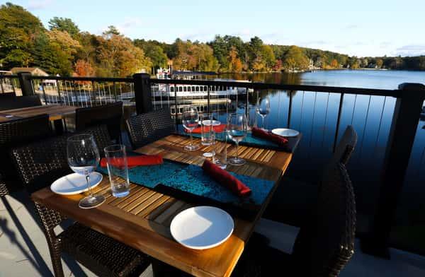 table overlooking water