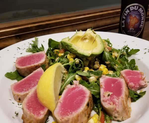 Seared Tuna Salad w/ Roasted Corn Salsa & Fresh Avocado