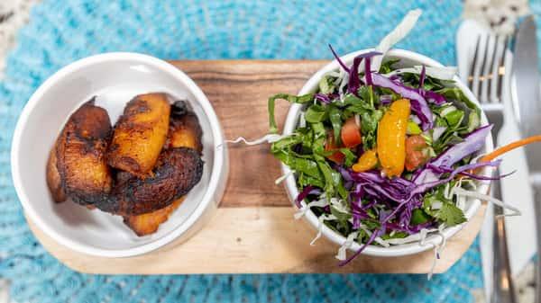 island salad and plantains