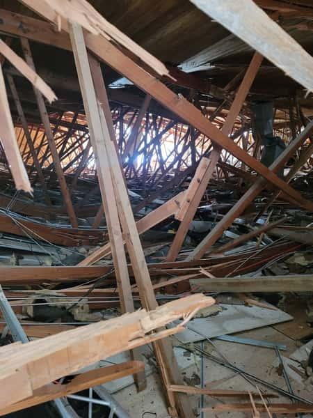 collapsed building interior