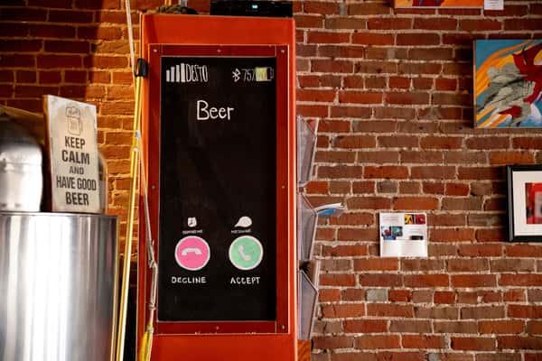 beer sign as phone
