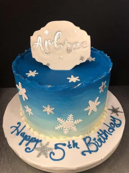 snow theme party cake