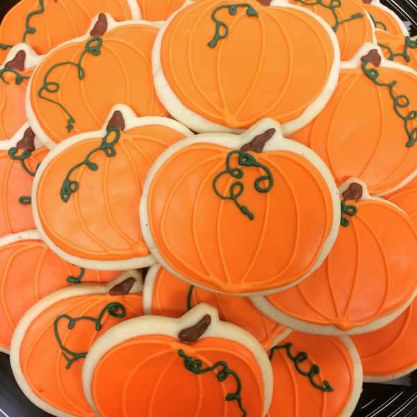Pumpkin decorated sugar cookies