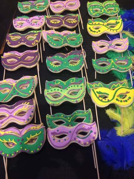 Mardis Gras mask decorated sugar cookies