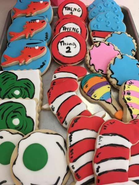 Dr. Seuss decorated sugar cookies