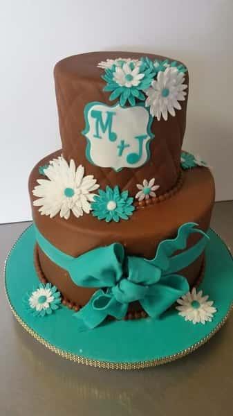 white and aqua daisy party cake