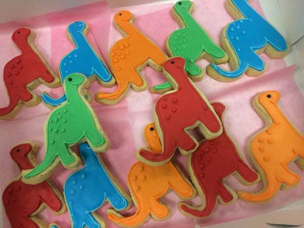 dinosaur decorated sugar cookies