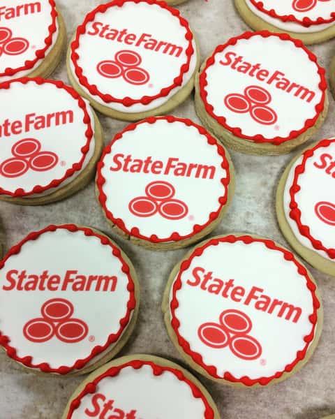 State Farm logo decorated sugar cookies