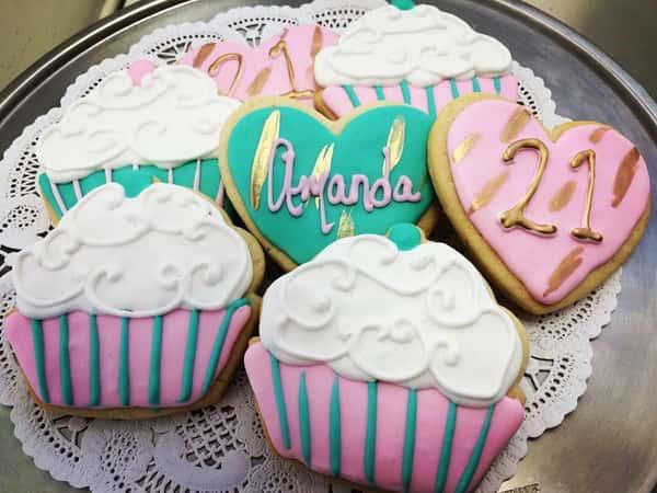 21st birthday decorated sugar cookies
