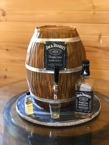 whiskey barrel party cake