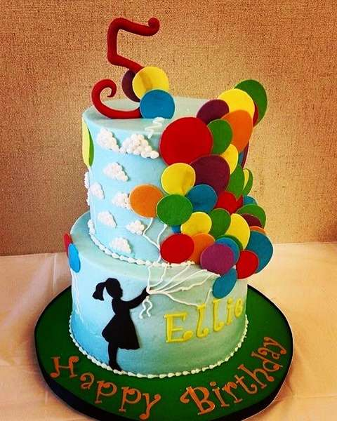 kids birthday balloon cake