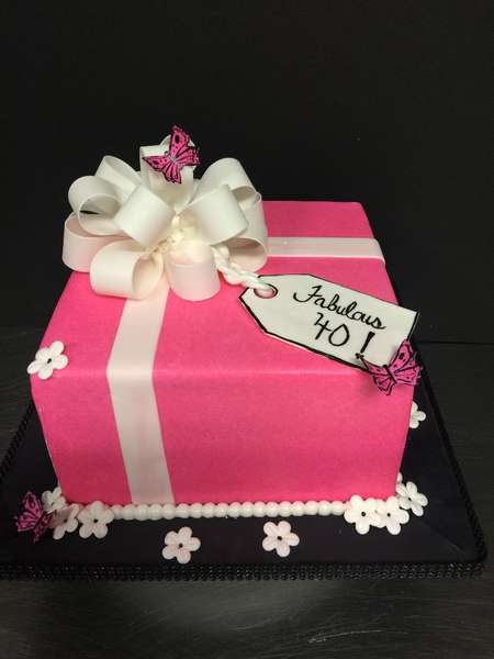 square pink present party cake