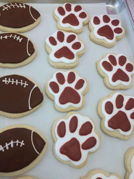 Football team decorated sugar cookies