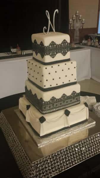 square black and white wedding cake