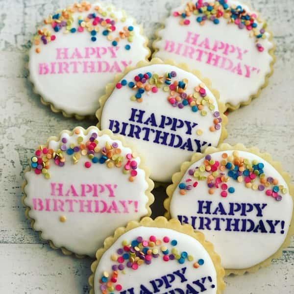 Happy Birthday decorated sugar cookies