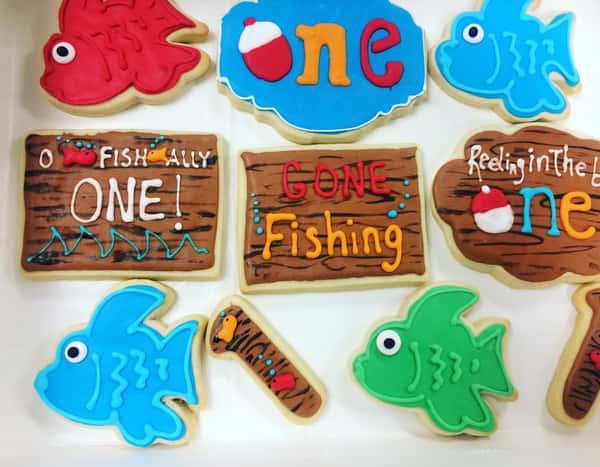 Fishing decorated sugar cookies
