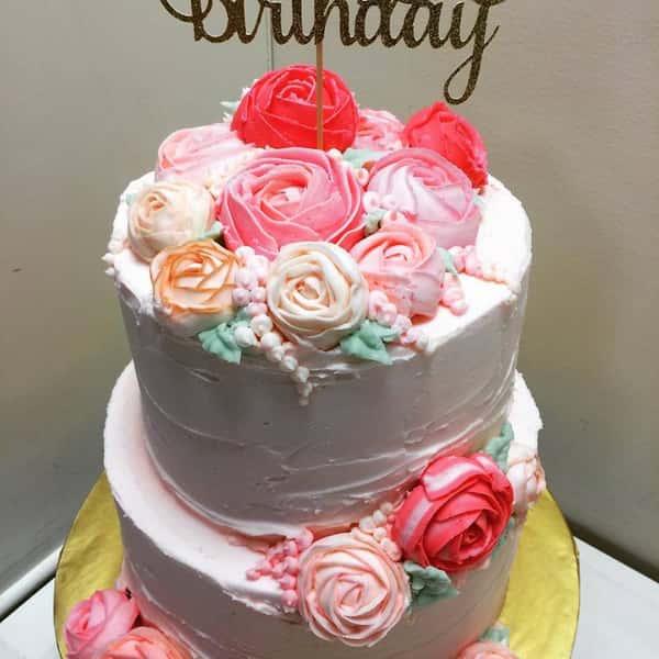 Birthday cake with peonies