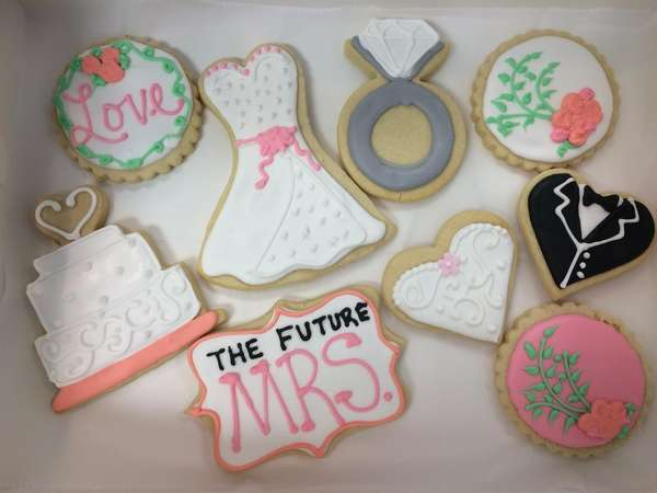 Engagement decorated sugar cookies