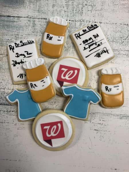 Pharmacist decorated sugar cookies