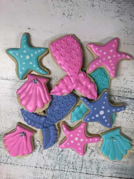 Mermaid decorated sugar cookies