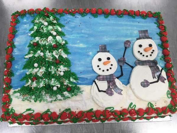 snowman sheet cake