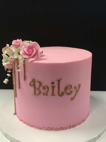 pink birthday party cake