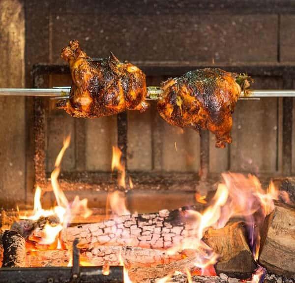 spit cooking chicken