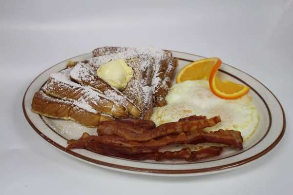 3 French Toast, 4 Bacon or Sausage, and 3 Eggs