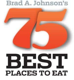 brad a johnson's 75 best places to eat logo