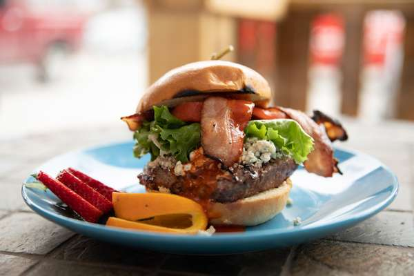 Spicy Blue Cheese Bacon Burger