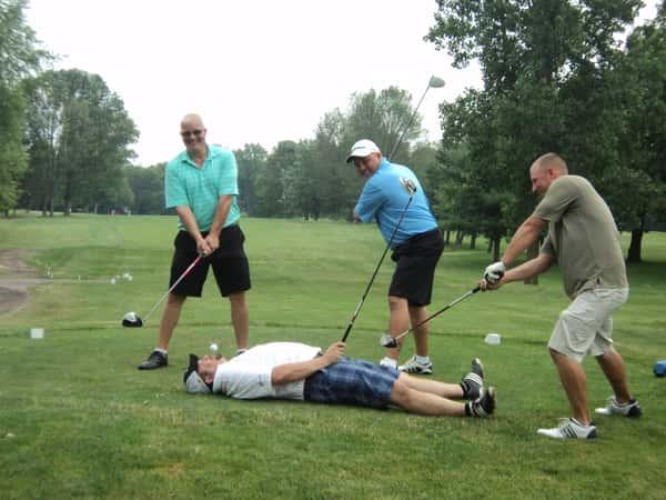 funny golfing men
